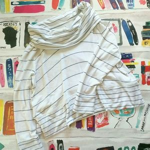 Lou & Grey White Black Cowl Neck Sweater Top